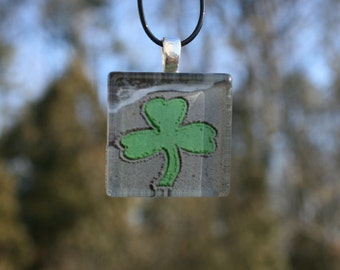 St Patrick's Day Green Shamrock in the Sand Beach Writing Necklace Pendant