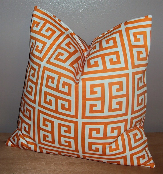 Items similar to Orange Greek Key Decorative Pillow Cover - Available In 16 18 and 20 Inch on Etsy