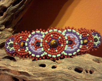 Native Inspired Rosette Beadwork, Brown Hair Barrette,  Purple Crystal Statement Piece, Circle Beaded Hair Clip, Beaded Western Clip Leather
