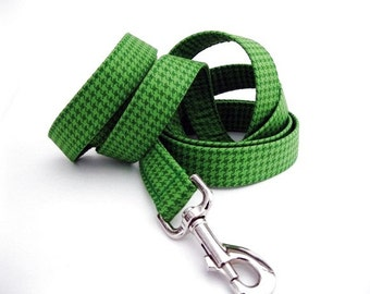 Houndstooth Dog Leash - Emerald Houndstooth