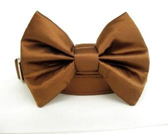 Satin Wedding Bow Tie Dog Collar - Copper