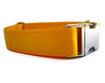Satin Wedding Dog Collar - Sunflower Yellow