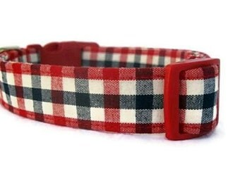 Gingham Dog Collar Red, White and Blue, Patriotic Dog Collar, Summer Dog Collar, Memorial Day Collar, 4th of July Collar, Labor Day Collar
