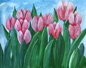 Pink Tulips, Original Acrylic Art, Floral Painting, 16 x 12 Tulip painting, Floral Wall Art Pink and Green