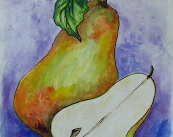 Original Art Contemporary Painting, Pears in Watercolor and Ink, Mixed Media Art, 18 x 12 Painting, Kitchen Art