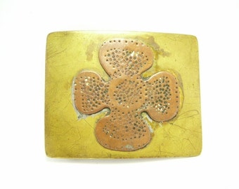 Vintage Hippy 60s Belt Buckle Flower Power Retro Funky Brass and Copper