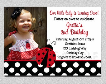 Ladybug Birthday 1st birthday Invitation Ladybug Birthday Party Invitation