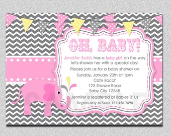 Elephant Baby Shower Invitation Elephant Shower Invitation
