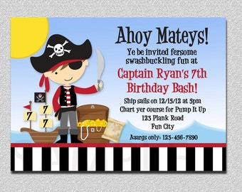 Pirate Birthday Invitation, Boy Pirate Birthday Party Invitation Printable