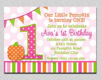Pumpkin Birthday Invitation  Polka Dot  Pumpkin 1st Birthday Party Invitation