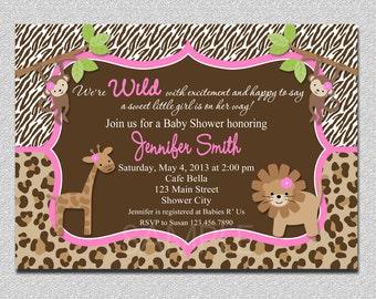 Jungle Baby Shower Invitation Safari Jungle Baby Shower Invitation