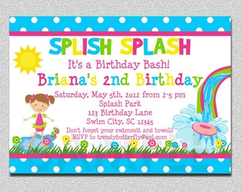 Pool Party Birthday Invitation Waterslide Birthday Invitation Printable Girls or Boys