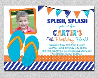 Flip Flops Birthday Invitation Flip Flops Pool Party Invitation Boys or Girls