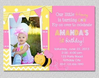 Pink Bumble Bee Birthday Invitation ,  Bumble Bee 1st Birthday Invitation Printable