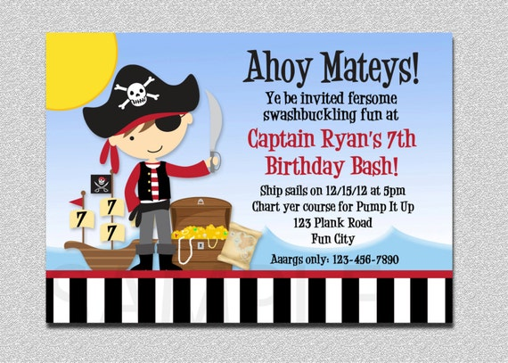 Pirate Birthday Invitation Boy Pirate Birthday Party Invitation – Pirate Party Invites
