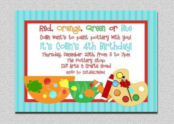 Items similar to Pottery Birthday Party Invitation Painting – Pottery Painting Party Invitations