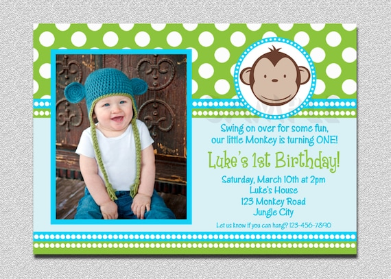 Mod monkey birthday invitation 1st birthday polka dot birthday party il570xn stopboris