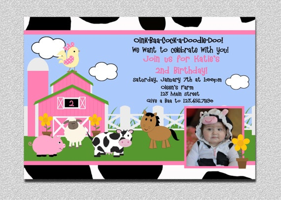 Barnyard Birthday Invitation Farm Birthday Party Invites – Farm Party Invitations