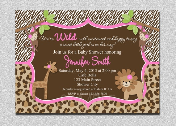 Jungle Baby Shower Invitation Safari Jungle by TheTrendyButterfly