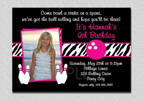 Bowling Birthday Invitation Bowling Birthday Party Invite Printable
