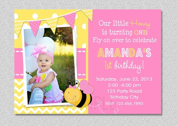 Pink Bumble Bee Birthday Invitation 1st