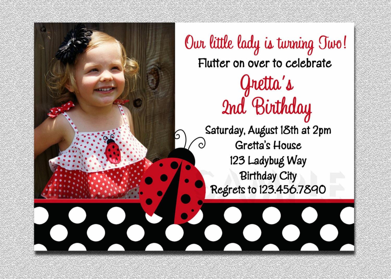 Ladybug Birthday 1st birthday Invitation Ladybug Birthday