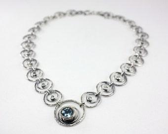 Ready to Ship - Handmade Sky Blue Topaz Royal Necklace - Sterling Silver - Wedding Bridal Necklace - Wedding, Anniversary, Birthday