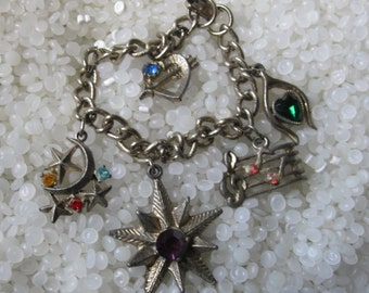 vintage charm bracelet potted metal and fake rhinestones