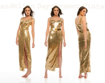 Noelle, Stunning French Vintage, Gold Sequin Encrusted Evening Dress, from Paris