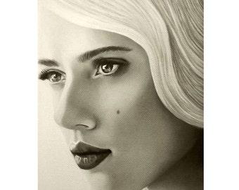 A Mark Of Beauty - Scarlet Johansson - ART PRINT - 8 x 10 - By Mixed Media Artist Malinda Prudhomme