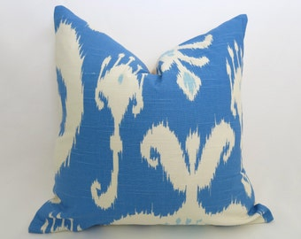 SALE - Ikat Decorative Pillow Cover - Porcelain Blue - Light Blue - Ivory - 12x18 inch - Designer Pillows - Ikat Pillow - Blue Pillow