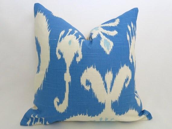 Porcelain Blue Decorative Pillows : Items similar to SALE - Ikat Decorative Pillow Cover - Porcelain Blue - Light Blue - Ivory ...