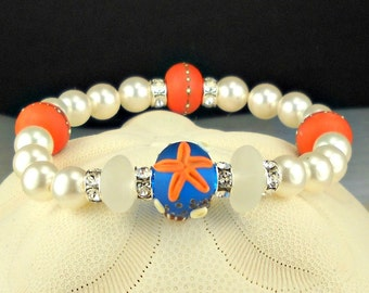 Cobalt And Coral GENUINE White Sea Glass Bracelet With Starfish Lampwork Beads