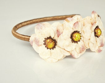 clearance taupe flower headband for women, teen, and girl: rebecca