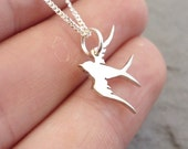 Tiny Swallow Sterling Silver Pendant