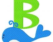 Whale Monogram Machine Embroidery Font Design Set, Embroidery font, Embroidery Monogram Font // Swim Day // Joyful Stitches
