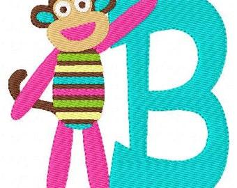 Rainbow Sock Monkey Machine Embroidery Monogram Design Set // Joyful Stitches