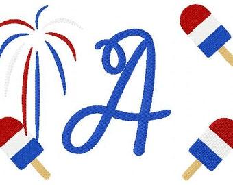 Patriotic 5x7 Monogram Machine Embroidery Font Design Set, Machine Embroidery Designs, Embroidery Font // Joyful Stitches