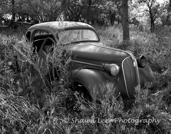 1937 Plymouth Coupe Black And White Country Landscape
