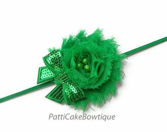Baby Headband, Shabby Chiffon Green Flower Headband, Green Headband, Christmas Headband, Girls Headband, Toddler Headband, Newborn Headband