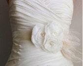 Ivory Bridal Sash Belt, Bridal Accessories, Ivory Bridal Belt, Ivory Wedding Belt  Ivory Flowers on Ivory Satin with Feathers - Ashley