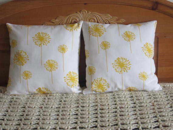Pillow Covers - Sunny Yellow Dandelion Prints - 18 Inch