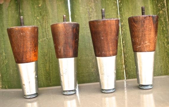 Vintage Atomic Sofa Legs 1950s 60s Wood Silver Metal Tapered