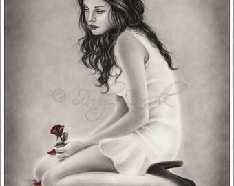Forgotten Roses Girl Emo Red Flower Art Print Glossy Zindy Nielsen