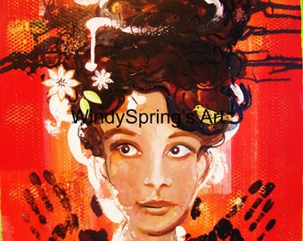 Wild Thing by Spring Fine Art 18x24 Giclee Canvas Print with Hand Painted Embellishments Comes Ready to Hang Audrey Hepburn Portrait