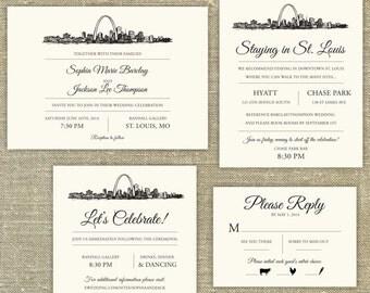 St Louis Skyline Destination Wedding invitation; SAMPLE ONLY