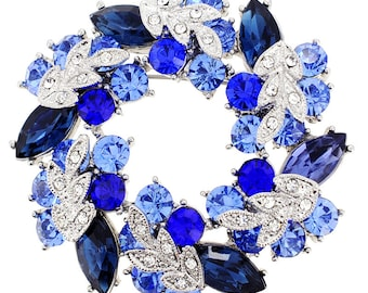 Sapphire Blue Wreath Pin Brooch And Pendant 1002861