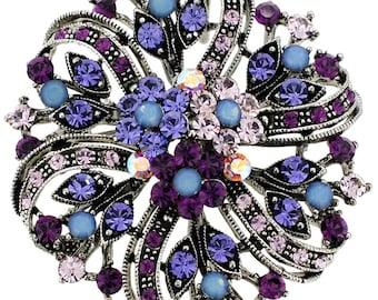 Amethyst Purple Flower Wedding Pin Swarovski Crystal Pin Brooch and Pendant 1003163