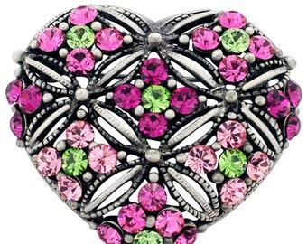 Multicolor Heart  Swarovski Crystal Pin Brooch 1012551