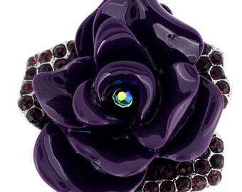 Amethyst Purple Enamel Rose Pin Brooch 1002292